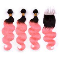 Индийские человеческие волосы # 1B / Pink Ombre 3Пучки и закрытие Розовое золото Ombre Объемная волна Плетение человеческих волос с 4x4 кружевной передней застежкой