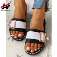 Slippers NAN JIU MOUNTAIN 2021 Women's Open Toe Summer Flat Sandals Pearl Outdoor Buckle Shoes Beach Comfortable Plus Size 40