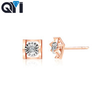 QYI Classic 18k Gold Earrings For Women Natural diamond Enga...