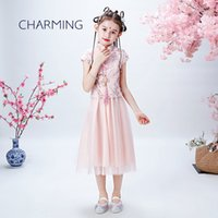 Tulle Dress Flower Girl Bambini Stile cinese Tang Tang Suit Cheongsam Dress Girl Dress Princess Bella pizzo fiore ragazza abiti da sposa