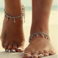 여자를위한 간단한 복고풍 금속 Anklets 합금 Waterdrop 술 장식은을 도금 한 사슬을 매다 발목 팔찌 맨발 샌들 비치 발 보석