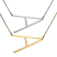 Acier inoxydable A-Z 26 lettres anglais Pendentif Colliers Mode Rose Or Argent Chaîne De Clavicule Accessoires pour Femmes