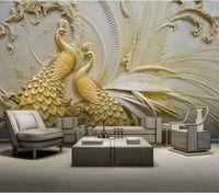 papel pintado para las paredes 3 d para sala de estar 3D en relieve del pavo real de la pintura de pared de fondo de oro