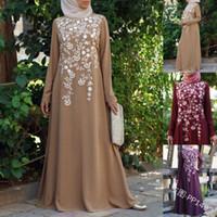 Roupas étnicas Muçulmanas Abaya Dress Maxi Ramadã Árabe Islâmico Floral Impresso Vintage Kaftan Vestidos Plus Size Women