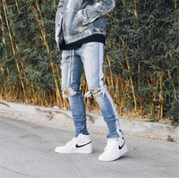 الربيع الرجال الجانبية مخطط جينز ممزق هول سروال ذكر قلم رصاص الصلبة سحاب عارضة الأزياء بنطلون الهيب هوب بنين