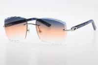 سوبيريور موردو بالجملة القط العين الشمس النظارات الشمسية الرخام الأزرق لوح الأسلحة 3524012 خمر مصمم النظارات مع مربع ج الديكور الذهب الإطار