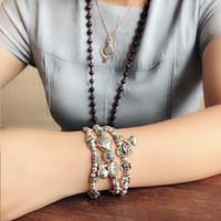 Milli tarzı el yapımı elastik ip Miao gümüş Tibet gümüş bilezik Bell Balık fil kolye gül boncuklu