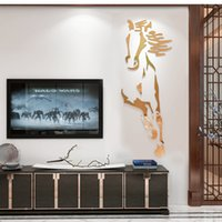 New arrival Horses Living room Acrylic 3d Wall Sticker Resta...