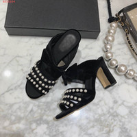 fashion women high heels slippers Pearl decoration Delicate ...