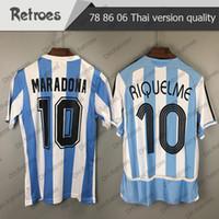 10 Maradona Argentina Retro Jersey de fútbol Vintage Classic 06 Riquelme 10 Camisetas de fútbol Maillot Camisetas Camisa de Fútbol