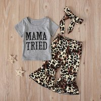 *40 Toddler Baby Girls Clothes Letter T Shirt Leopard Print Flare Pants Outfits Set Summer Tops Pants Toddler Outfits Girl 2020