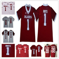 Mens Youth 1 Jalen Hurts Kyler Murray 6 Baker Mayfield Perine Bradford Brian Bosworth Kids Oklahoma Sooners Ncaa College Football Maglie