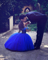 Setwell 2019 Royal Blue Off Ball Gown Flower Girl Dress senza maniche Gonna Gonfiabile Festa di compleanno per ragazze