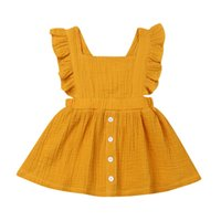 Summer Casual Baby Girl Dress Backless Newborn Ruffle Outfit per bambini Vestiti Solid Kid Toddler Abbigliamento 0-3T