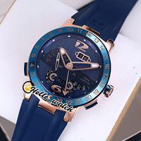 جديد التنفيذ التنفيذي El Toro / Black Toro Perpetual Calendar GMT 326-00-3 / BQ Rose Gold Blue Detail Mens Watch Blue Rubber Strap Watches Hello_Watch