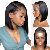 Peluca del cabello humano frontal de encaje 360 con cabello bebé corto Bob desplegable brasileño para mujeres negras Remy PRELUTE PISCULAR PEZOLINA NATURAL