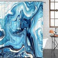 샤워 커튼 에코 - 친화적 인 커튼 대리석 블루 디자인 크래키 욕실 장식 방수 패브릭 목욕