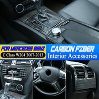 Su Kupası Tutucu Paneli Çerçeve Sticker Karbon Elyaf İç Merkezi Konsol Vites Paneli Kapağı İçin Mercedes Benz C Class W204 2007-2013