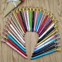 Big Crystal Ballpoint Pen Fashion Girl 19 Карат Большой Алмазный Металлический Шариковой Руч Школьный Офис Поставки Свадьба Подарок DHL