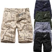 2019 shorts d'outillage chauds Imprimé géométrique Homme Été Extérieur Décontracté Lâche Plusieurs poches Impression Salopette Plage Court