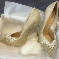 Hot Selling Gold Glitter Wedding Shoes Bride String Bead Poi...