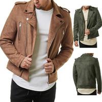 grande veste en cuir de revers de veste en daim nouveaux hommes fermeture à glissière diagonale courte pour les hommes