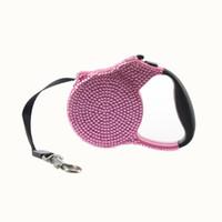 Rhinestone Dog Leash Retractable Small Breed Retracción extensible Lead Lead 3M Pink Stone Negro Cuerda para gato gatito perrito