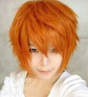 LIVRAISON GRATUITE + ++ + Court Orange Brillant Hommes Perruque Cosplay Cheveux hommes hommes Kanekalon perruques