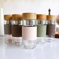 زجاجات المياه الزجاج المقاوم للحرارة جولة مكتب كأس سيارة مع المقاوم للصدأ الشاي infuser مصفاة lTumbler هدايا عيد الميلاد 350ML WX9-1182