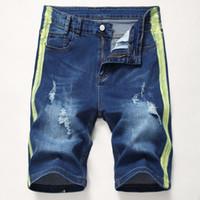 Mens Designer Ripped Shorts Denim bleu Painted 2020 Summer stretch Slim Fit Shorts Retro Big SizeWashed Biker Jeans Pantalons 381