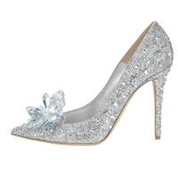 Rood en zilver Hoogwaardige Cinderella Crystal Schoenen Bruids Rhinestone Trouwschoenen met Bloem Lederen Grote kleine Afmeting 33 34 tot 41