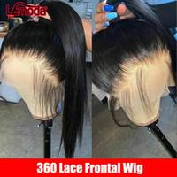Brasileño 360 encaje frontal peluca de encaje recto Pelucas de cabello humano Pelucas pre arrolladas con cabello bebé Remy 150% 360 peluca humana