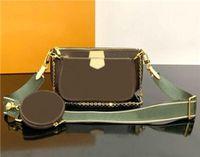 Bolsas clásicas de tres piezas Impresión flores 3 en 1 bolsa de cadena Lady Real Leather Wallet Correa Crossbody Hombro Messenger Moneda Monedero