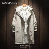 Kolmakov Hombres zanja larga chaqueta de la capa de poliéster negro capas de foso para hombre primavera chaquetas y abrigos 2019 chaquetas para hombre del tamaño grande