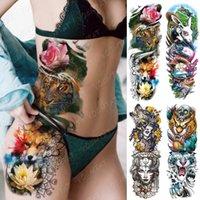 Große Armhülse Tattoo Tiger Fox Lotus Wasserdichte Tatto Aufkleber Alice in Wunderland Körperkunst Fülle Fake Tatoo Frauen