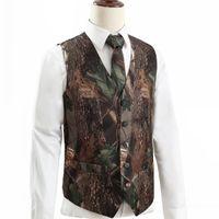 2021 Camo Hommes Gagets Gilets pour Mariage Chasseur Campagne Style Camouflage Motif Mens Hommes Vêtement Vest 2 pièces (Vest + Cravate) Custom Casual Image Casual En Stock
