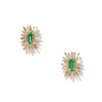 blanc vert feu d'artifice cz géométrique stud pour dame femmes cadeau classique goujons zircon