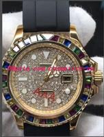3 نمط ساعة اليد الفاخرة المطاط الأسود سوار 40MM قوس قزح الماس ووتش التلقائية للرجال ساعات وصول جديد