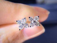 2020 Nuovi monili Stunning lusso orecchino della vite prigioniera delle donne 925 Sterling Silver taglio rotondo Topazio bianco diamante della CZ delle pietre preziose Star Party arrivo