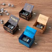 크리 에이 티브 고전적인 나무 뮤직 박스 모든 종류의 사진 Ingraved 손 해리 Poters 장식품 뮤직 박스 동기 부여를 흔들어