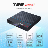 T95 Max + Android 9.0 TV 셋톱 박스 Amlogics905x3 4GB 32 / 64GB Quadcore USB3.0 스마트 안드로이드 TV 상자 용 듀얼 WiFi 8K BT4.0
