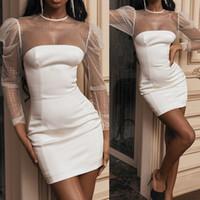 여성 퍼프 슬리브 메쉬 니트 패치 워크 레이스 파티 폴카 도트 드레스를 인쇄