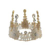 US Warehouse Vintage Luxe Handgemaakte Shiny Haar Clip Crystal King Koningin Crown Accessoires
