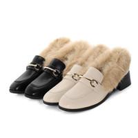 Scarpe nuova delle donne di inverno Medio Heels 3 centimetri classico stile retrò di lusso Dress Shoes Ufficio Red Bottoms Lady pelliccia calda calza il formato 34-40