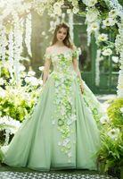 Prenses Nane Yeşil Gelinlik Modelleri Güzel Çiçek Örgün Evenign Abiye 2019 Arapça Artı Boyutu Özel Durum Vintage quinceanera elbiseler