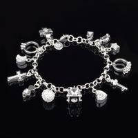 Herzkreuz Charm Armbänder für Frauen 925 Sterling Silber Überzogene Modeschloss Stern Mond Diamant Link Kette Mädchen Geschenk Schmuck mit Stempel 21 cm