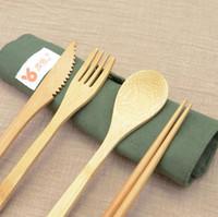 Conjuntos portátil Bamboo Faqueiro Outdoor Viagem talheres Set Faca Chopsticks Fork Colher Louça para o aluno Louça 7PCS / LXL874Q SET