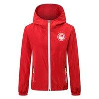 2020 olympiakos Futbol kapşonlu rüzgarlık ceket ceket Marka Koşu ceket Su geçirmez Windproof Kapşonlu Fermuar rüzgarlık Erkekler Ceketler