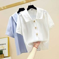 Vintage White Blouse Women Shirts 2020 Summer Peter Pan Coll...