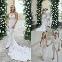 Elegant Mermaid Wedding Dresses Sweep Train Lace Beading Sex...